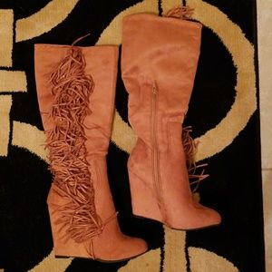 Charlotte Russe suede fringe wedge boots